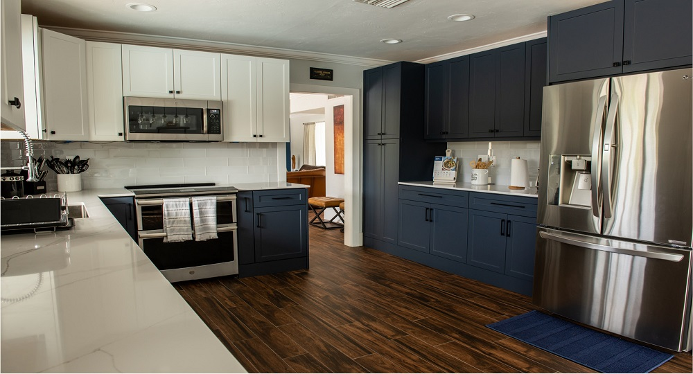 Kitchen Cabinet Refacing With White Blue Finish