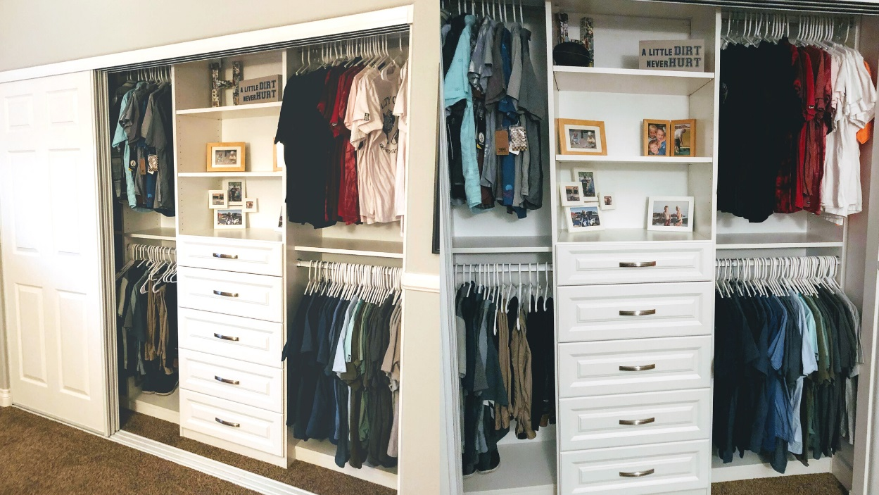 Custom Reach In Closet With Triple Track Door
